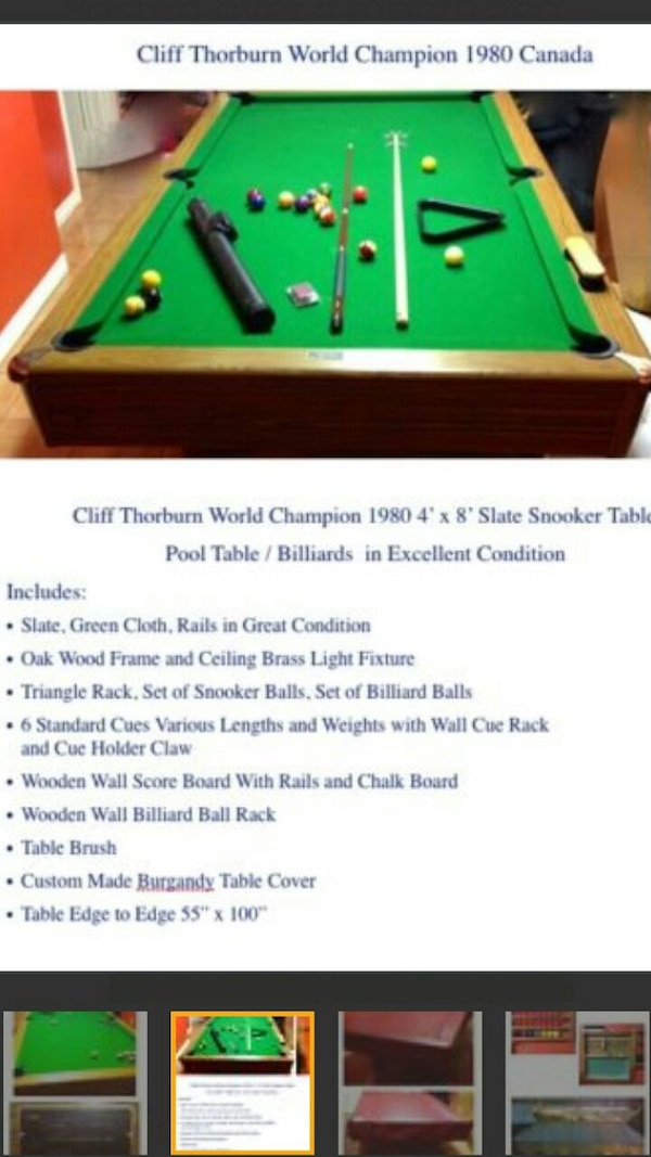 Used X Slate Snooker Table Cliff Thorburn World Ch For Sale In - Pool table chalk board