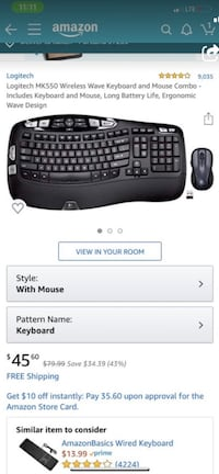 Bluetooth keyboard with mouse.