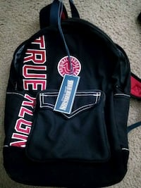 black and red leather backpack Savannah, 31415