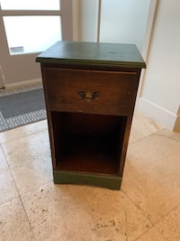 "Antique finish end table with drawer. Measure at 15""W x 12.5""D x 26""H"