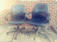 two black leather padded rolling armchairs Wichita, 67203