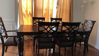 Rectangular brown wooden table with four chairs dining set Herndon, 20171