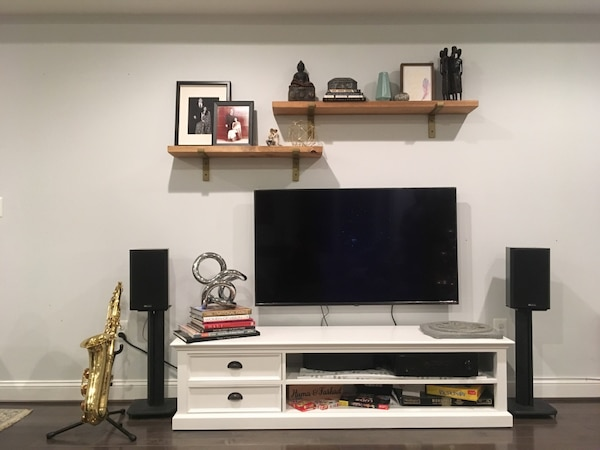 Audio Receiver, 2 x Speakers and Stands