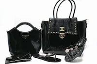 black leather tote bag and wristlet Toronto, M6M 3A9