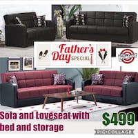 Sofa and loveseat with bed and storage  Newark, 07114
