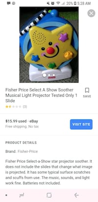 Fisher Soother Star Musical  468 mi