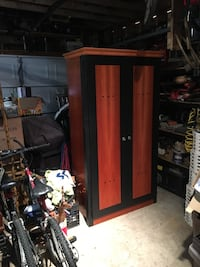 red and black wooden cabinet