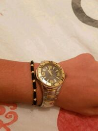 round gold analog watch with link bracelet Greater London, N9 8RP