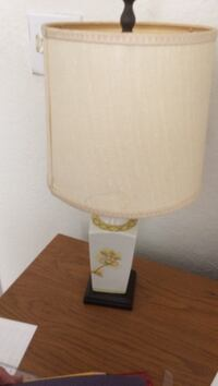 white ceramic table lamp base with beige lampshade 742 mi