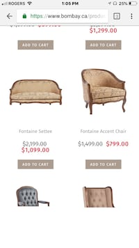 Bombay Fontaine love seat and chair  Edmonton, T6X 1Z5