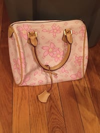 pink and white floral leather handbag Arlington, 02474