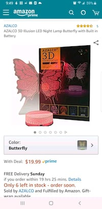 New 3D Illusion LED Night Lamp Butterfly with Buil Fair Oaks, 95628