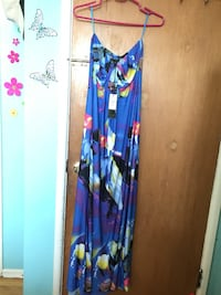 blue and red floral sleeveless dress Calgary, T2V 0P1