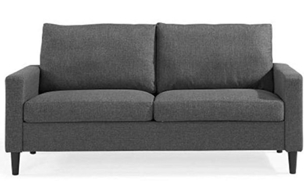 2-Seater Sofa Couch Grey Woven Fabric Modern Retro Style 72.5 x 33.2 x 36.2  inches
