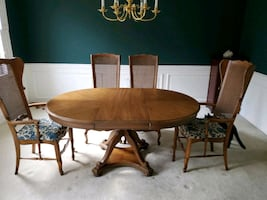 Dining room table, chairs, leaf, and protective cover