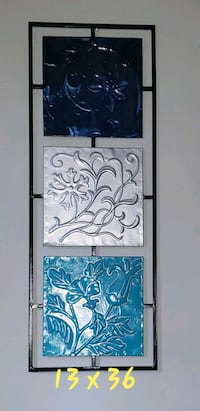 13 x 36 metal wall decor, teal, silver and blue