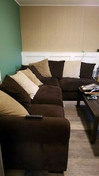 Corduroy 4-Piece sectional couch with throw pillow 250 mi