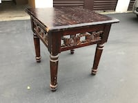 brown and black wooden side table Davis