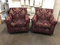 two red-and-brown floral sofa chairs Fontana, 92335