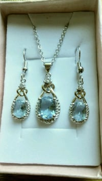 Platinum Plated Blue Topaz earring & necklace set