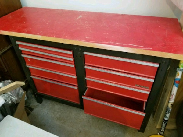 Craftsman toolbox base with thick wooden board top