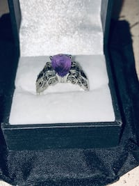 Purple Amethyst, Sterling Silver and Marcasite.  Huge ring.... Frederick, 21701