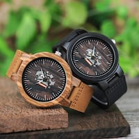 BOBO BIRD WOODEN JAPANESE DESIGN LUMINOUS LEATHER STRAP UNISEX WATCH