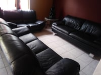 black leather 3-seat couch and two loveseats Miami, 33186