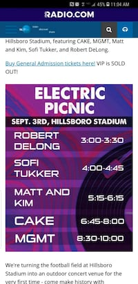 Electric Picnic tickets 4 Salem, 97302