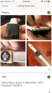rose gold 38mm apple watch tmobile still paying off but can use with blue tooth Miami, 33177
