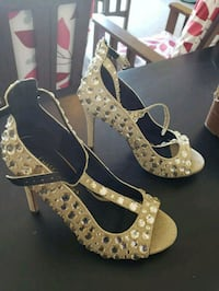 pair of brown leather open toe ankle strap heels McAllen, 78504