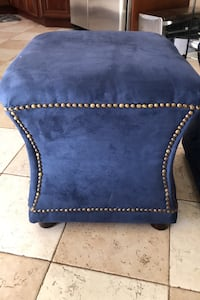 2 Royal Blue Suede Ottomans with nail heads like new Bethlehem, 18018