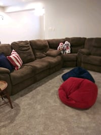 brown fabric sectional sofa electric recliner s Indianapolis, 46203