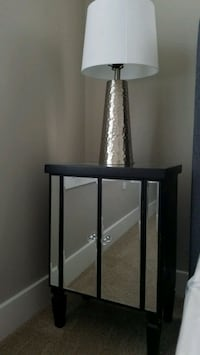 Mirrored end table/nightstand and lamp