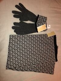 Black and white Micheal Kors scarf and glove set. New with tags Burke, 22015
