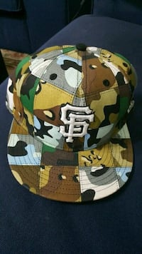 green, brown and gray camouflage SF snapback cap