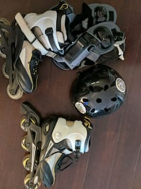 Roller blades+helmet +knee, elbow and palm guards  Vancouver, V6B 1A6