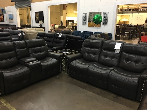 Genuine Leather Reclining Sofa And Love Seat Brand New Grey Color