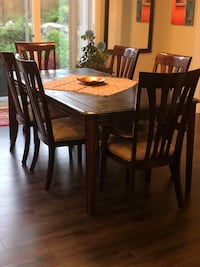 rectangular brown wooden table with six chairs dining set Surrey, V4N 6L3