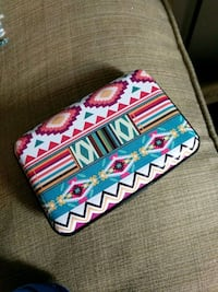 white, blue, and red floral wallet Independence