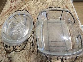 Clear glass oval food container