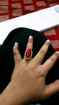 silver-colored ring with red gemstone Falls Church, 22041