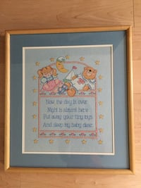 Hand cross stitched wall decor, custom matted and framed  Woodbridge, 22193