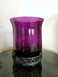 Purple glass candle holder with metal tray Washington