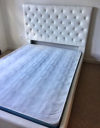 Queen white upholstered Bed (boxspring not included) Alexandria, 22302