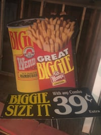 Wendy's Giant authentic vintage cardboard sign advertising display