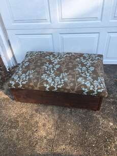 brown and white floral ottoman