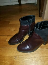 pair of burgundy and black side zip boots Washington, 20011
