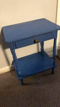 blue wooden single-drawer end table Memphis, 47143