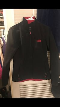 black and red The North Face full-zip jacket